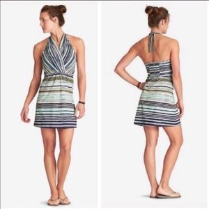 Euc Athleta go anywhere striped halter dress